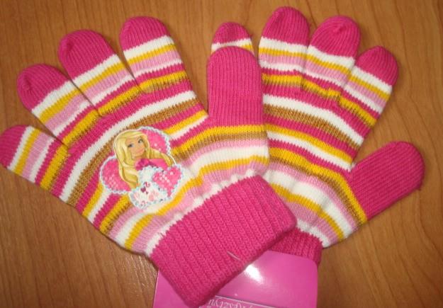 Rukavice Barbie 4-9 let TMAVĚ RŮŽOVÉ