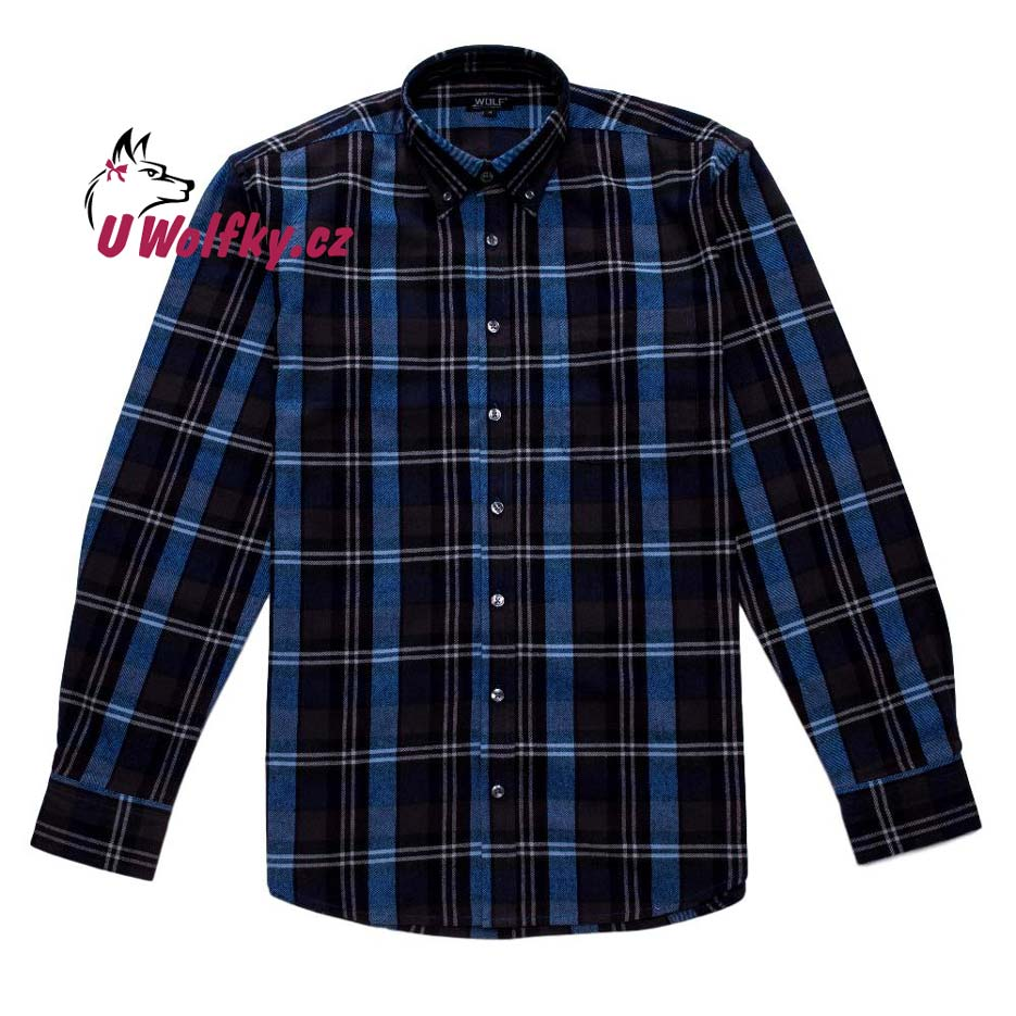 Pánská flanelová košile Wolf vel. L tmavě modrá L ab5c5cb3aa