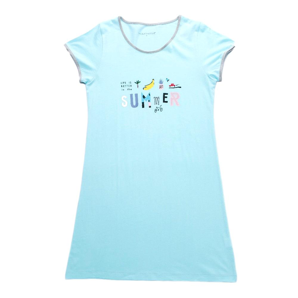 65aebc6ddaf5 Dámské tričkové šaty Wolf vel. S-XXL světle modré