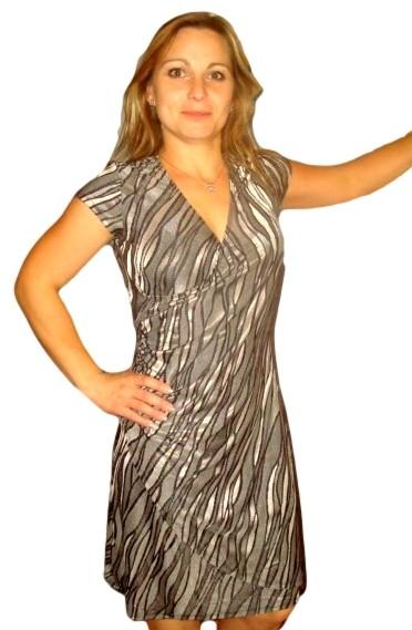 Dámské šaty Fashion Mami vel. M šedé vzor vlnky M