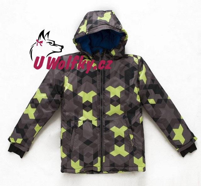 Chlapecká zimní bunda Wolf vel. 110 šedá se zelenou 110