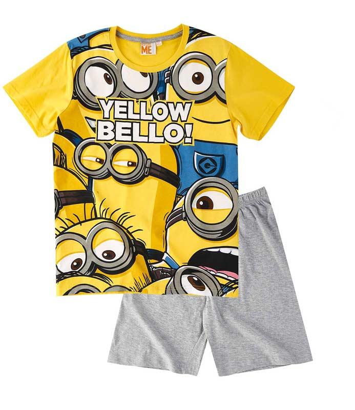 4a780524a500 Letní pyžamo Mimoni žluté se šedou