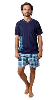 18eaaa7950f3 Pánské letní pyžamo Calvi vel. M-XXL tmavě modré