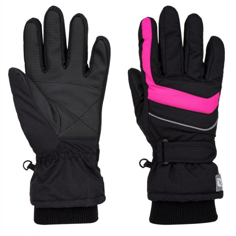 Dívčí rukavice Loap Ninos vel. 140 (označeno 10) černé s růžovou 140