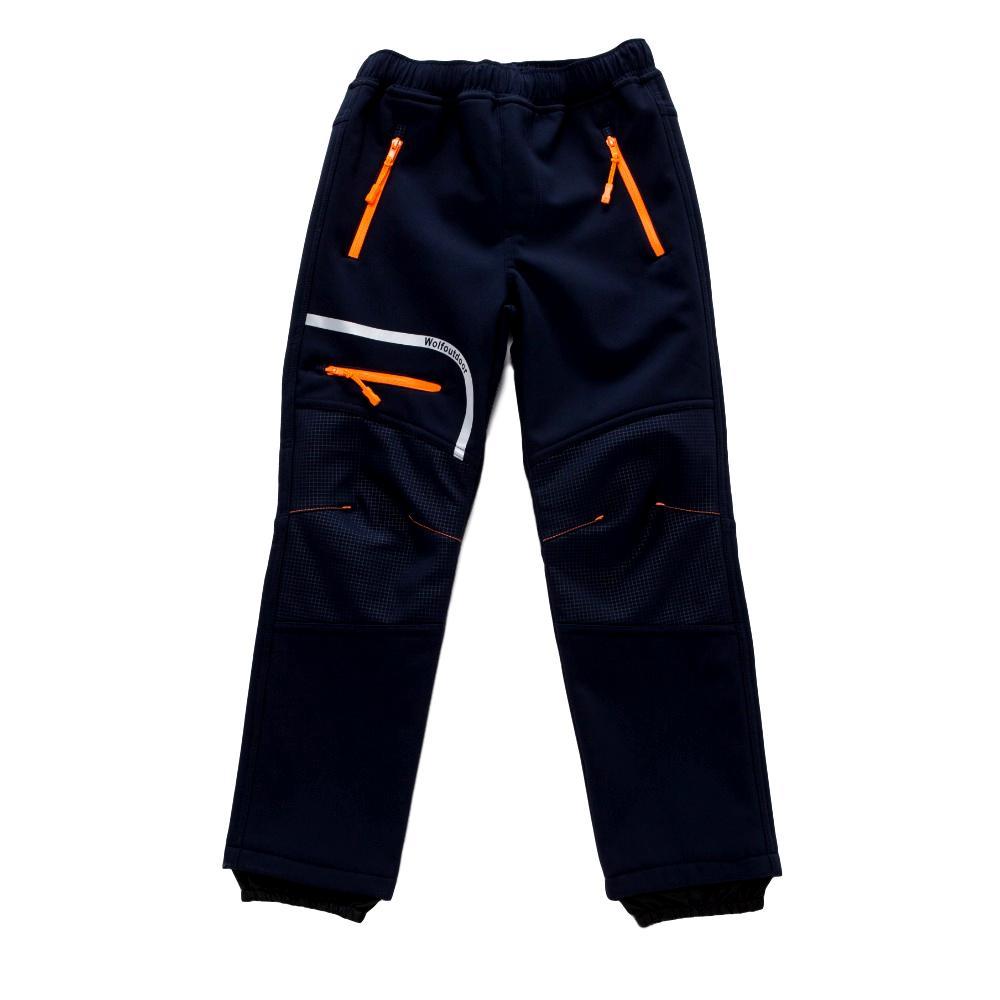 Chlapecké softshellové kalhoty Wolf B2894 s fleecem tmavě modrá 122