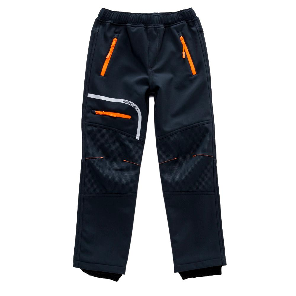 Chlapecké softshellové kalhoty Wolf B2894 s fleecem tmavě šedá 128